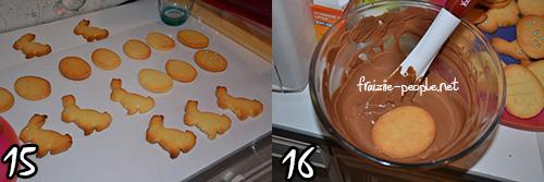 Etapes sablés de Päques nappés de chocolat au lait