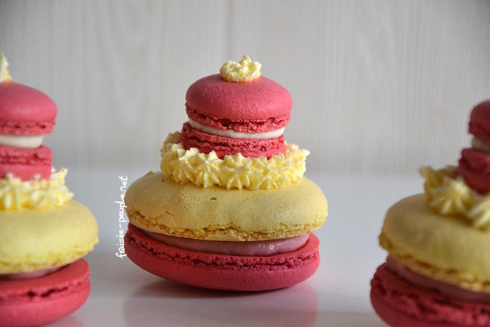 Religieuse en macarons fraise/citron