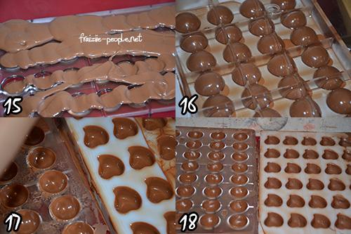 Etape moulage chocolat de Pâques au praliné fait maison