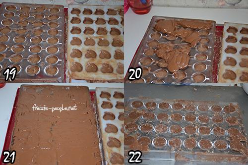 Etape chocolats de Pâques au praliné  fait maison