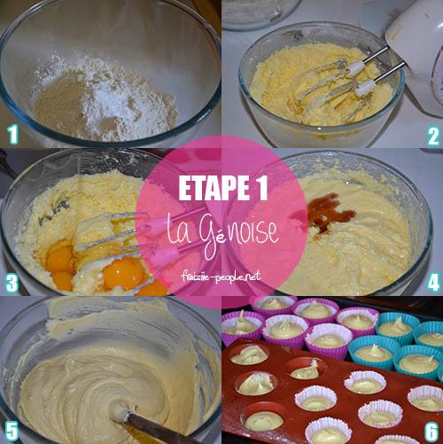 Etape 1 : Cupcakes mascarpone et cœur de framboise