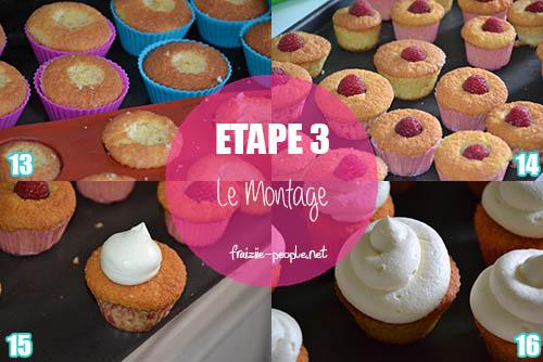 Etape 3 : Cupcakes mascarpone et cœur de framboise