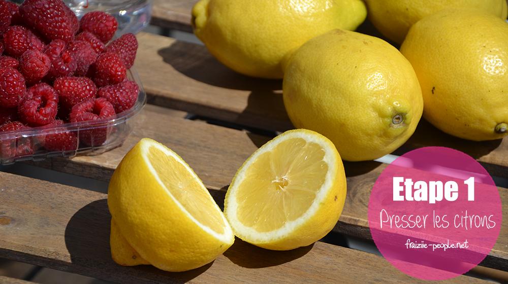 Etape 1 citronnade aux framboises