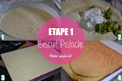 Etape 1 : Cueillette de fruits rouges sur un biscuit moelleux aux pistaches