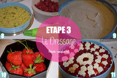 Etape 3 : Cueillette de fruits rouges sur un biscuit moelleux aux pistaches