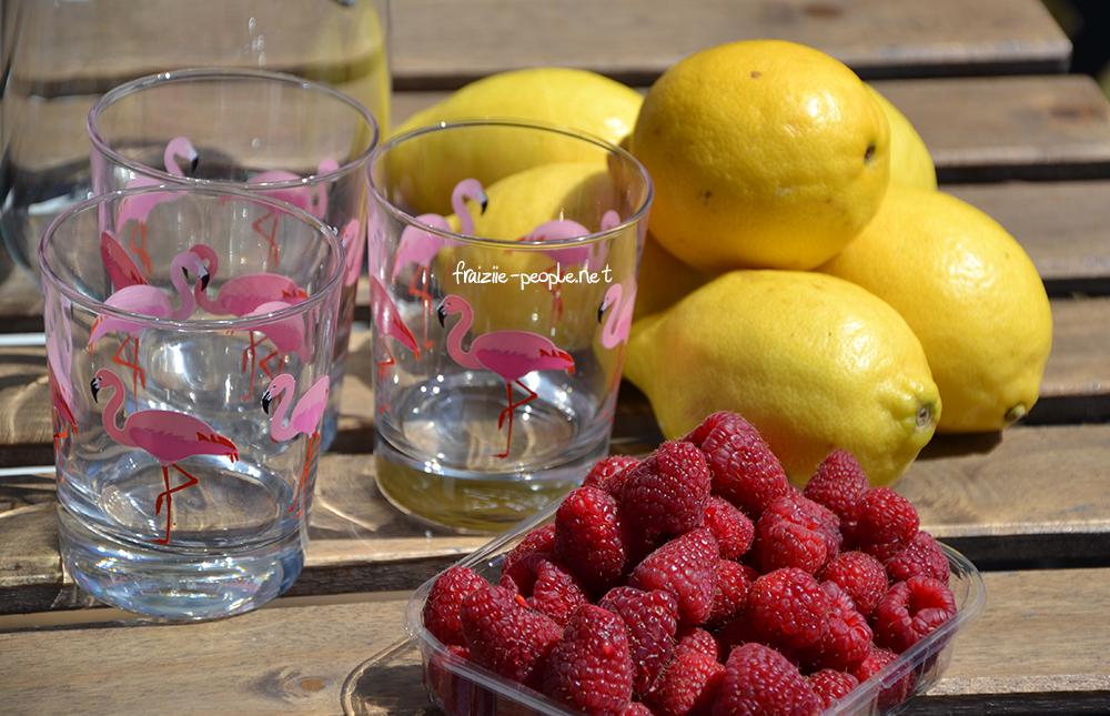 ingrédients de la citronnade aux framboises