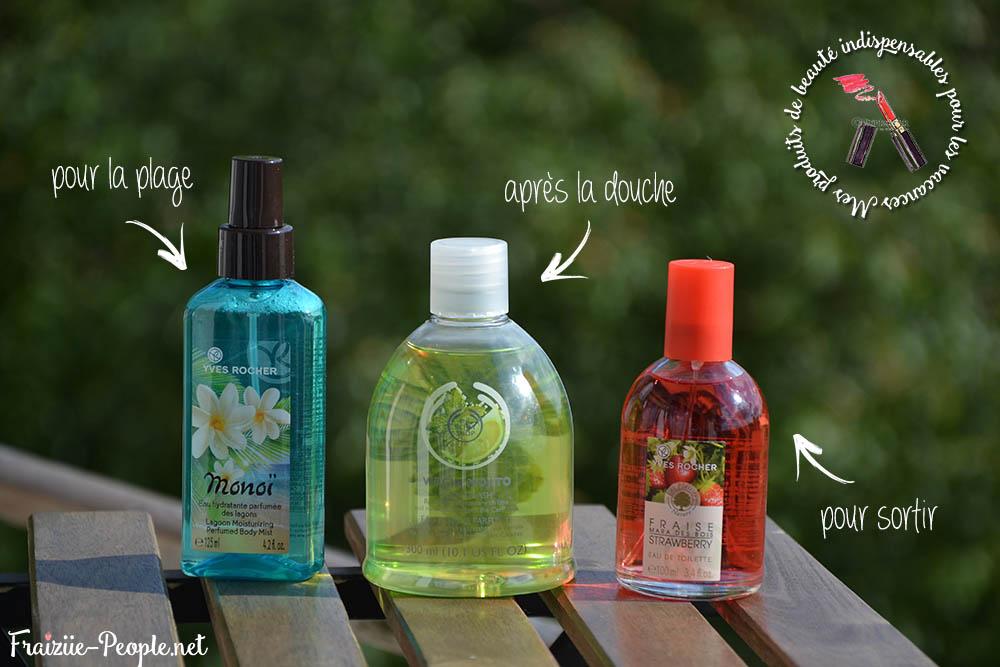 La première est une eau rafraîchissante au Monoï de chez Yves Rocher, que je vous conseille de porter sur la plage, mais libre à vous d'en faire ce que vous voulez :) La seconde est une eau de toilette qui s'applique après la douche, c'est mieux quand on se douche le matin ^^, elle sent le mojito (c'est plus citronné qu'à la menthe mais c'est juste top !).  Enfin, il s'agit d'un parfum à la fraise (fraise addicte obligée ^^) de chez Yves Rocher, elle est plus forte que les précédentes donc pour une soirée ça convient très bien :)