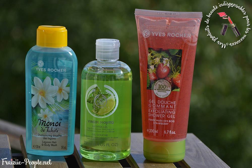 J'ai beaucoup de produits Yves Rocher et The Body Shop, mais le premier est vraiment pas cher et le second irrésistible :) Je prends donc le gel-douche/shampoing au Monoï de chez Yves Rocher, le gel douche Mojito de chez The Body Shop et un gommage à la fraise Yves Rocher :)