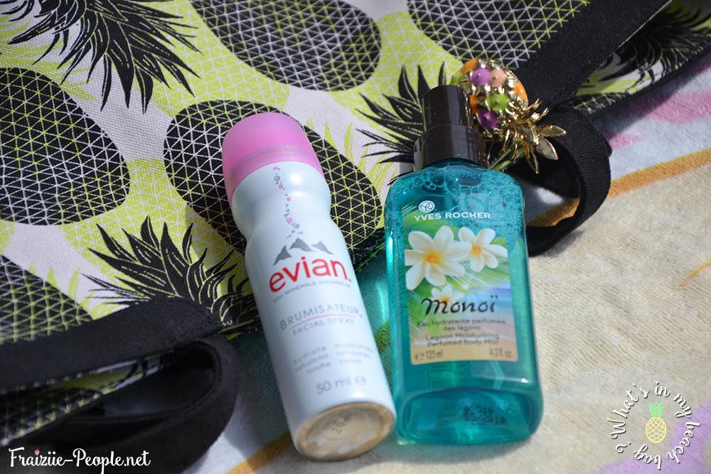 What's in my beach bag ? brumisateur et eau rafraîchissante