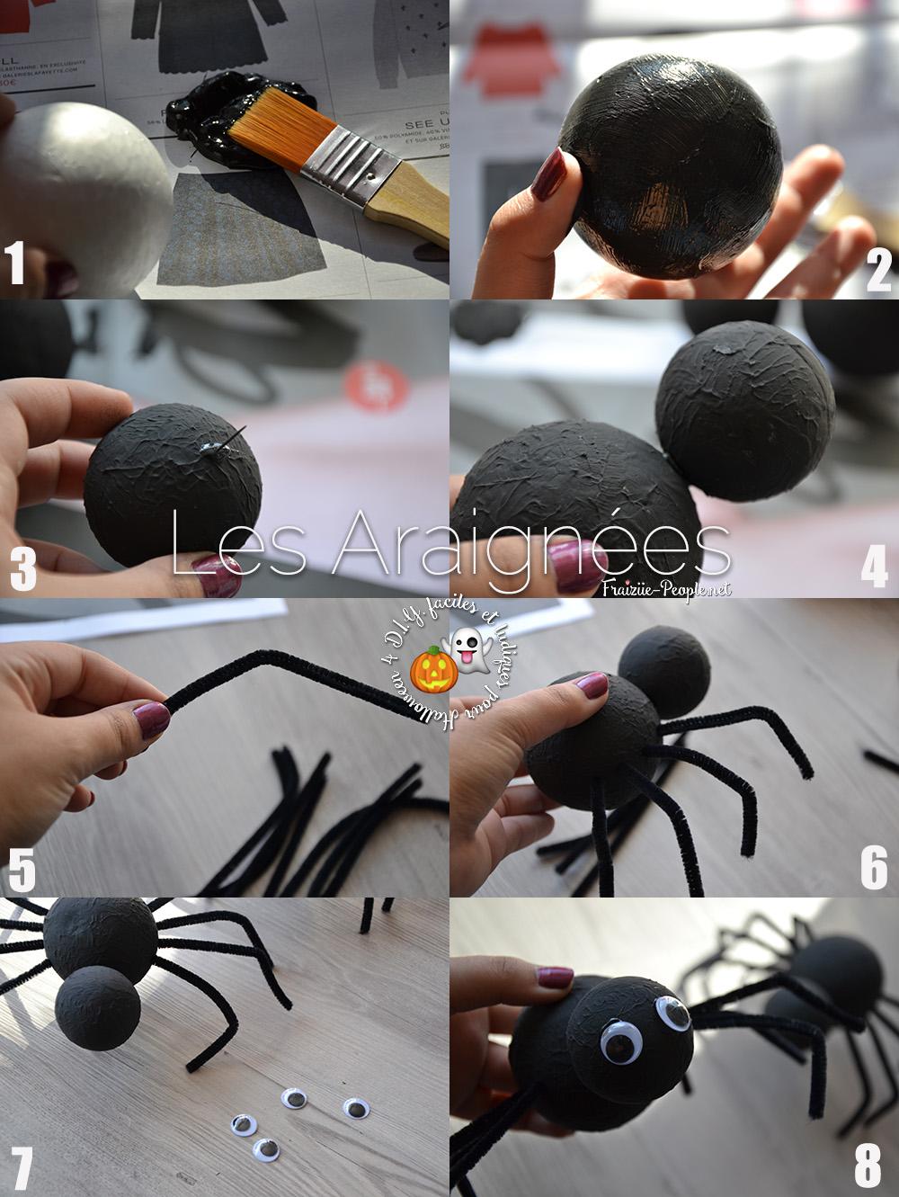 étapes araignées, Quatre idées déco faciles et ludiques pour Halloween