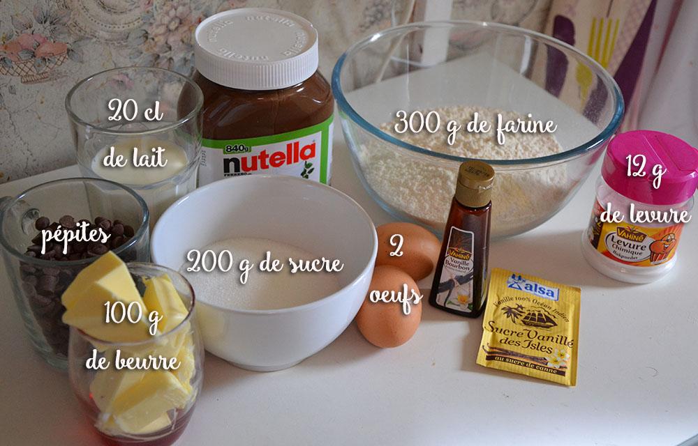 ingrédients muffins coeur nutella