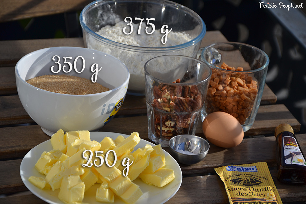 Ingrédients, cookies caramel et noix de pécan
