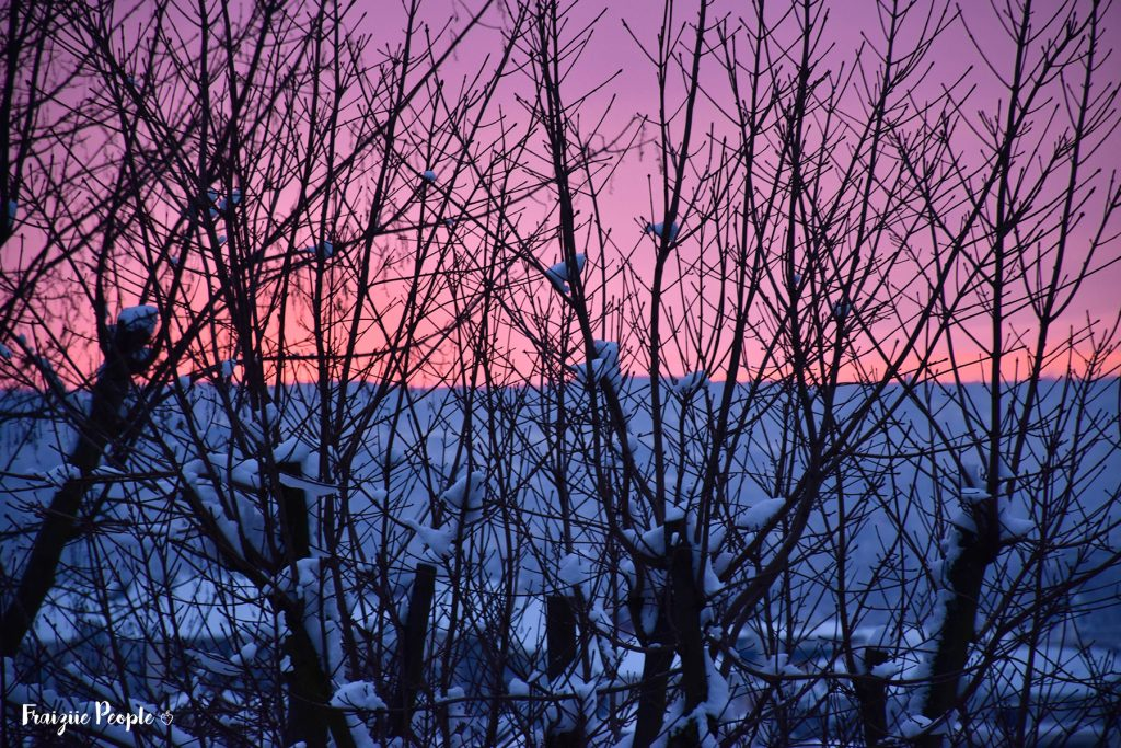 Neige en ville coucher de soleil - Fraiziie-People